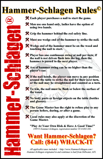 Hammerschlagen Rules&copy (as currently published)